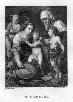 Johann Nepomuk Passini (1798-1874), Heilige Familie, Kupferstich nach Sarto, D2400-2