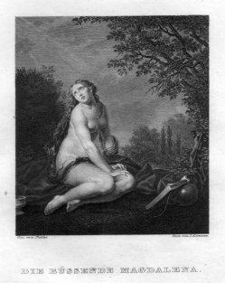 Josef Axmann (1793-1873), Die büßende Magdalena, Kupferstich nach F. Furini, D2400-3