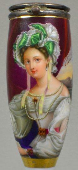 Johann Jacob Mezler (1804-1893), Die liebliche Schöne, Porzellanmalerei, Pfeifenkopf, D1135