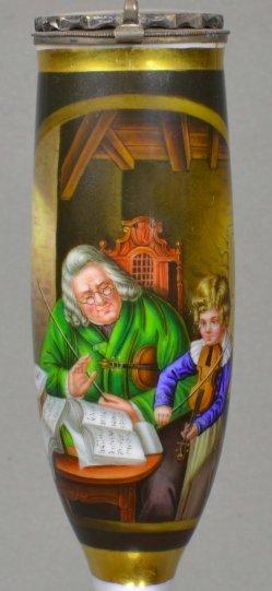 Joh. Friedr. Carl Constantin Schroeter (1795-1835), Musikstunde, Porzellanmalerei, Pfeifenkopf, D1405