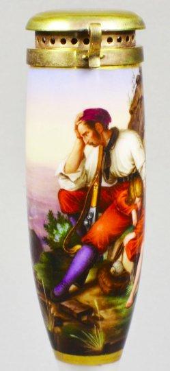 Carl Friedrich Lessing (1808-1880), Räuber und sein Kind, Porzellanmalerei, Pfeifenkopf, D1499