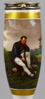 Horace Vernet (1789-1863), Klagender Grenadier, Porzellanmalerei, Pfeifenkopf, D1704