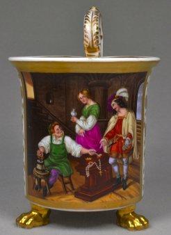 Wilhelm Nerenz (1804 – 1871), Des Goldschmieds Töchterlein, Porzellanmalerei, Tatzenfußtasse, D1869