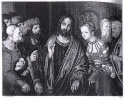 Johann Nepomuck Strixner (1728-1855), Die Ehebrecherin nach Cranach, Lithographie, A0020