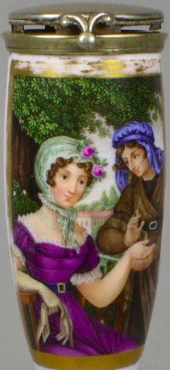 Franz Xaver Stöber (1795-1858), Der Gram der Liebe, Porzellanmalerei, Pfeifenkopf, B0070