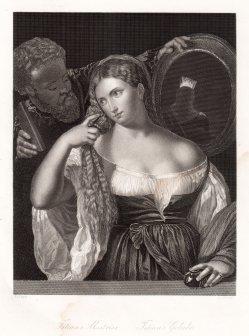 D.J.Pound, Titians Geliebte, nach Titian, Stahlstich, D1356
