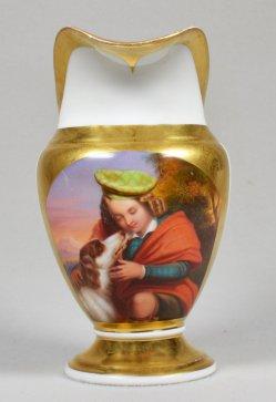 Der kleine Schotte, Porzellanmalerei, Sahnekännchen um 1845, D1600