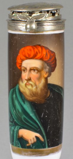 Tizian, (1477od.1488-1576), Selbstbildnis, Porzellanmalerei, Pfeifenkopf, D1754