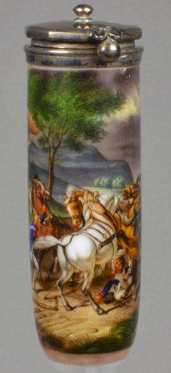 Carl Wilhelm von Heideck (1788-1861), Scheuende Pferde im Gewitter, Porzellanmalerei, Pfeifenkopf, D1817