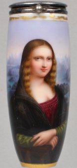 Leonardo da Vinci (1452-1519), Mona Lisa, Porzellanmalerei, Pfeifenkopf, D1884