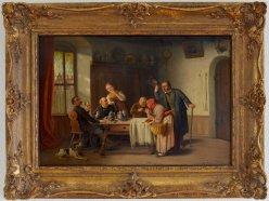 Heinrich Franz Gaudenz von Rustige (1810 – 1900), Der unerwartete Besuch, Gemälde, D1895a