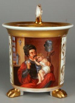 Ferdinand Theodor Hildebrandt (1804-1874), Der Krieger und sein Kind, Porzellanmalerei, Tasse, D0998
