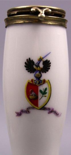 Wappen, auf Gott vertrauen, Porzellanmalerei, Pfeifenkopf, D1094