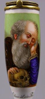Das Leben ist ein Traum, Porzellanmalerei, Pfeifenkopf, zum Gedicht von Gleim, D1116