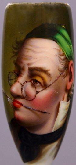 Der Buchhalter mit Brille und Feder im Mund, D1197