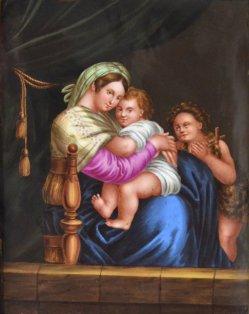 Raffaello Sanzio (1483-1520), Madonna della Seggiola, Porzellanmalerei, Bildplatte, D1915