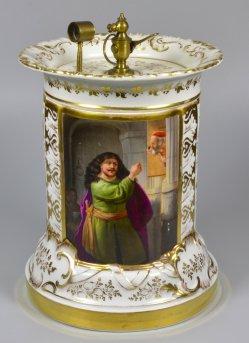 """Rembrandt (1606-1669) """"Simson bedroht seinen Schwiegervater"""", Porzellanmalerei, Platin-, Döbereiner Feuerzeug, D1920"""