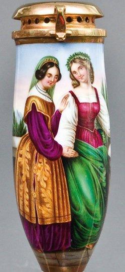 Carl Ferdinand Sohn (1805 – 1867), Die beiden Leonoren, Porzellanmalerei, Pfeifenkopf, B0149