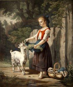 """H.Jaeger, Farblithographie, """"Komm Hans"""" nach H. Werner um 1847, D1209"""