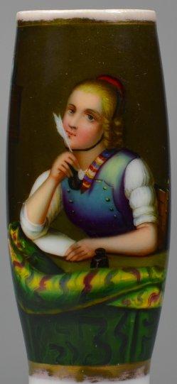 Meyer von Bremen (1813-1886), Der Liebesbrief, Porzellanmalerei, Pfeifenkopf, D1780