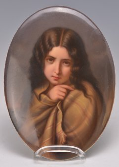 "Charles Francois Jalabert (1819 – 1901)""Die Armuth"", Porzellanmalerei, Bildplatte, A0043"