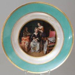 "Caspar Netscher"" (1639-1684), Die Toilette, Porzellanmalerei, Teller, A0044"