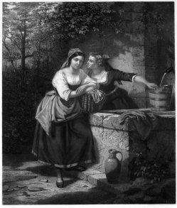 """Hermann Droehmer (1820-1890), Lithographie, """"Das Geheimnis"""" nach H. Werner 1861, D1190"""
