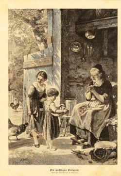 """Holzstich, """"Ein wichtiges Ereignis"""" nach H. Werner 1883, D1387"""