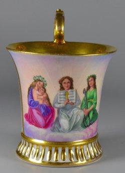 Allegorien Liebe-Glaube-Hoffnung, Porzellanmalerei, Lithophanie, Tasse, D1845