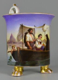 """Gustav Heidenreich (1819-1855)""""Ein Mittag in Rom"""", Porzellanmalerei, Tatzenfußtasse, D1908"""