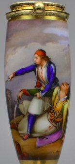 Ary Scheffer (1795 – 1858), Junger Grieche verteidigt seinen Vater, Porzellanmalerei, Pfeifenkopf, D1958