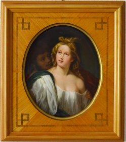 """Tizian (um 1477-1576) """"Lukretia und Tarquinius"""", Porzellanmalerei, Bildplatte, D1980"""