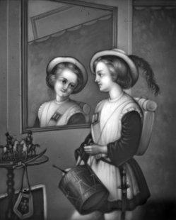 HPM 320 A Trommler im Spiegel sw ohne Rahmen