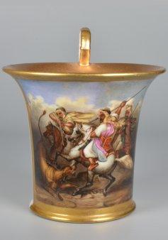 Arabische Löwenjagd, Porzellanmalerei, Tasse, D2000