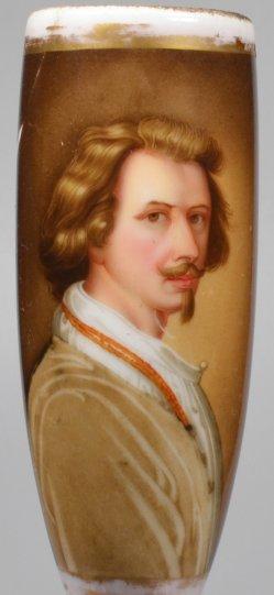 Junger Mann mit Victor-Emanuel-Bart, Porzellanpfeifenkopf, Nathusius Althaldensleben, D2001-0