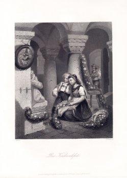"""William French (1815-1898), Stahlstich, """"Das Kirchweihfest"""", nach J. Wild, D2017"""